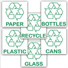6 x Recycling Value Pack-6 of our Popular Self Adhesive Stickers-Recycle Logo Sign-Environment Label